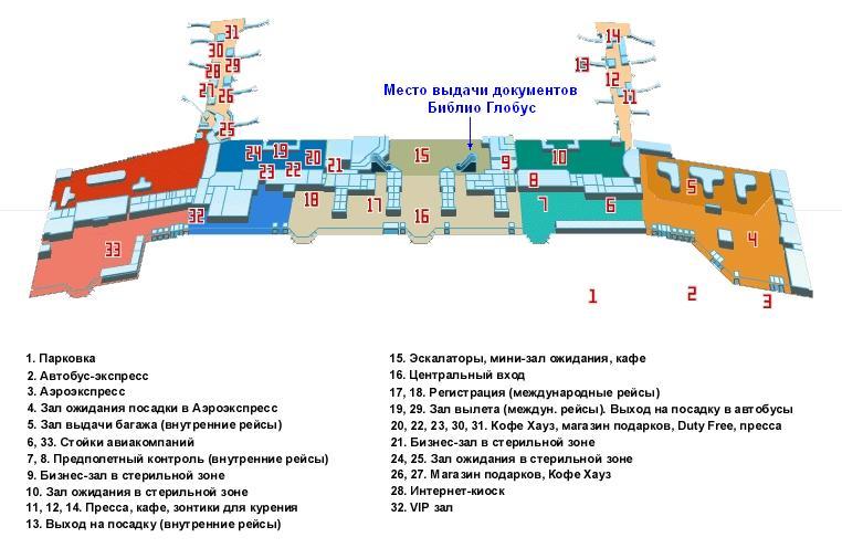 Схема аэропорта Домодедово:
